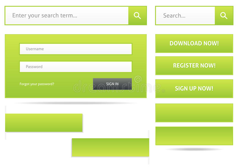 Grüne Webdesignelemente lizenzfreie abbildung
