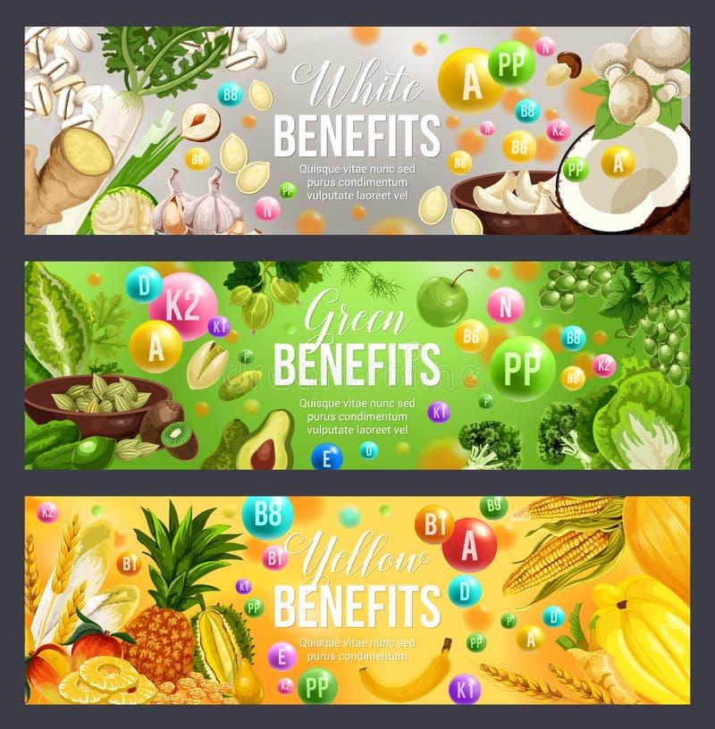 Grüne, weiße und gelbe Farbdiät-Vitaminnahrung vektor abbildung