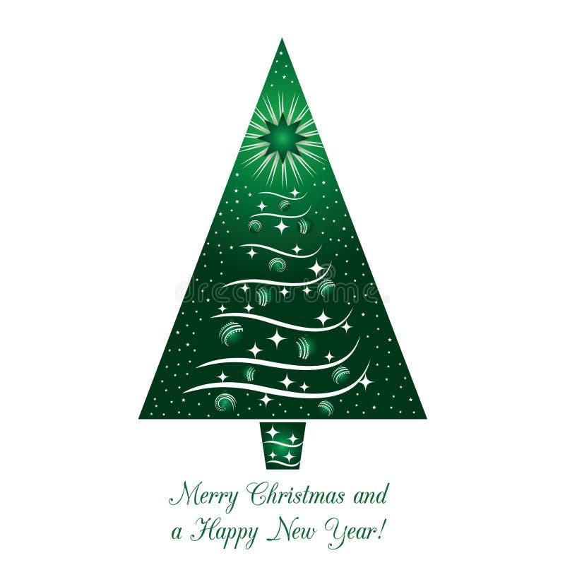 Grüne Weihnachtsbaum-Gruß-Karte stock abbildung