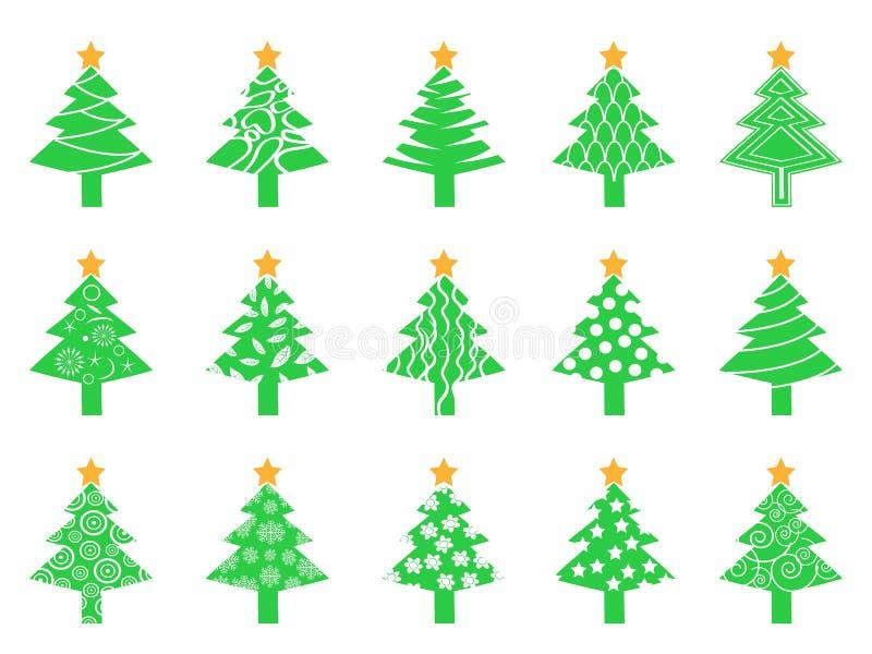 Grüne Weihnachtsbaumikonen eingestellt stock abbildung