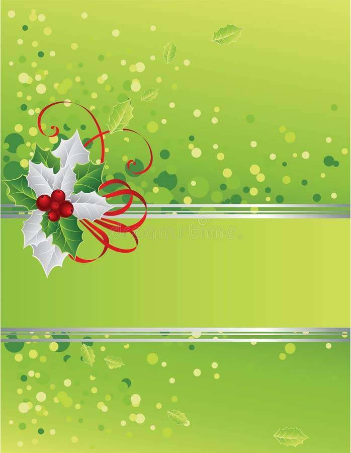 Grüne Weihnachtskarte mit Stechpalmebeeren vektor abbildung