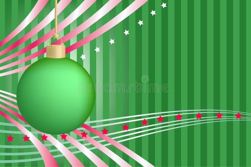 Grüne Weihnachtskugel mit Streifen und Sternen stock abbildung