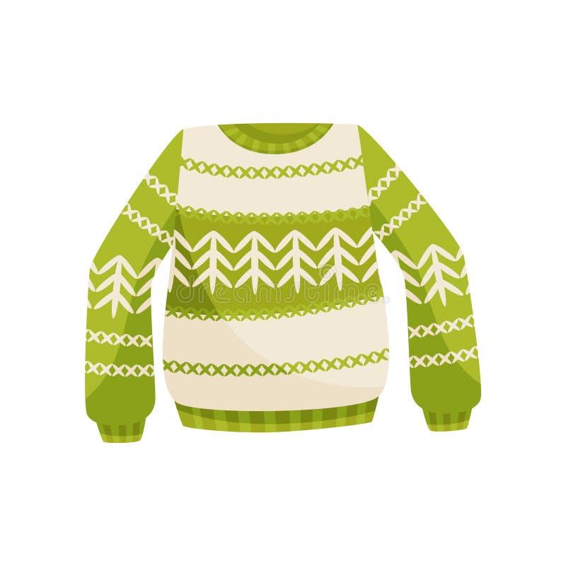 Grüne Weihnachtsstrickjacke mit norwegischer Verzierung, gestrickte warme Pullovervektor Illustration auf einem weißen Hintergrun vektor abbildung