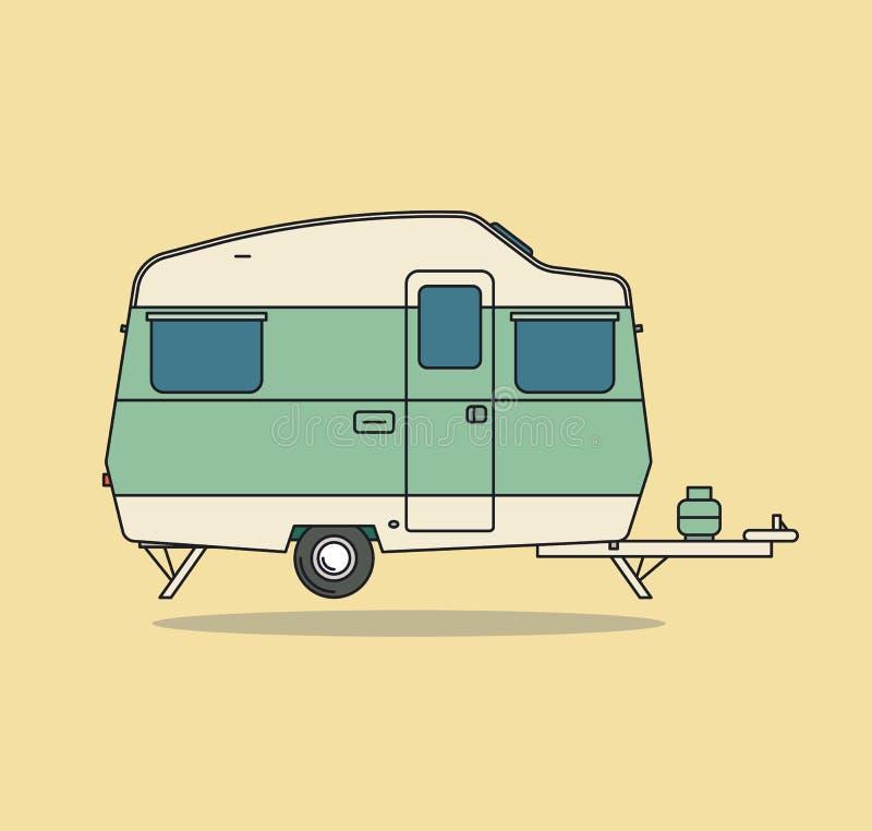 Grüne Weinlese-kampierendes Auto Wohnwagen für Rest stock abbildung