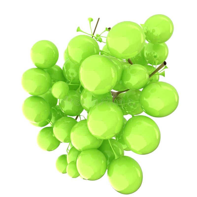 Grüne Weinreben der gesunden Früchte lokalisierten weißen Hintergrund Bunc stock abbildung