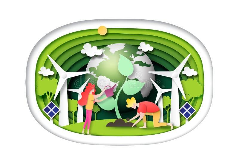 Grüne Welt und saubere Energie auf grüner Schichtschablonen-Hintergrundpapier-Kunstart vektor abbildung