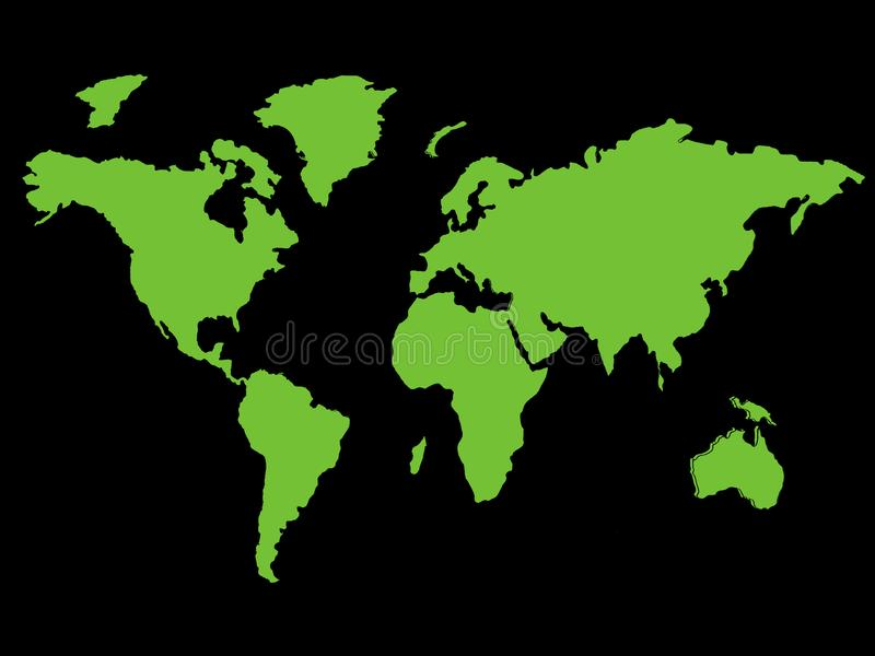 Grüne Weltkarte, die globale umweltsmäßigziele - Kartenbild lokalisiert auf einem schwarzen Hintergrund darstellt stockbilder