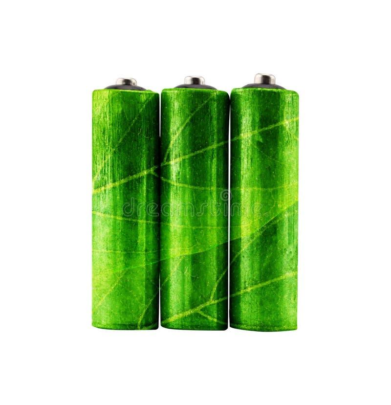 grüne wieder aufladbare alkalische Batterie AA mit Blattform stockbild