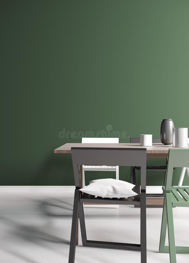 Grüne Wiedergabe des Esszimmers 3d stockbild