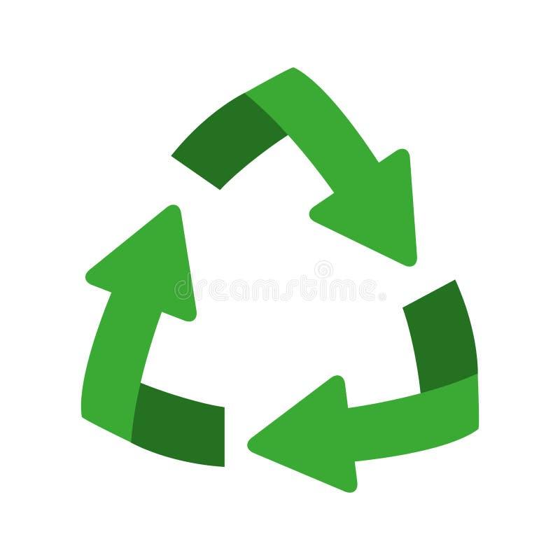 grüne Wiederverwertungssymbolform mit Pfeilen in der Steigung stock abbildung