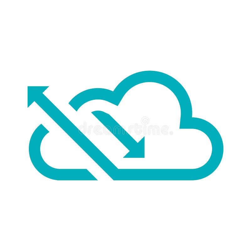 Grüne Wolke des Logos mit auf und ab den Pfeilen, die nach links gegenüberstellen, den Logowolkenstatistiken und Datenspeicherung vektor abbildung