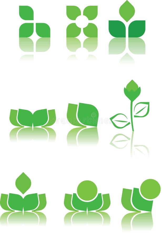 Grüne Zeichenauslegungproben lizenzfreie abbildung