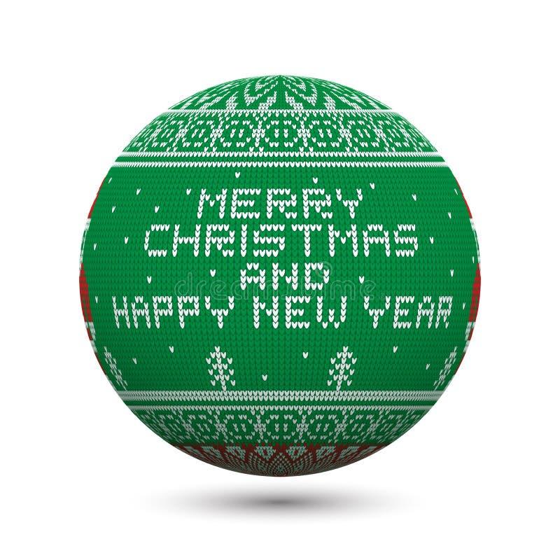 Grünen Sie den gestrickten Weihnachtsball, der auf weißem Hintergrund mit nordischer Verzierung und Aufschrift lokalisiert wird:  stock abbildung