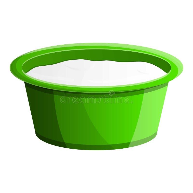 Grünen Sie flache Jogurtpaketikone, Karikaturart lizenzfreie abbildung