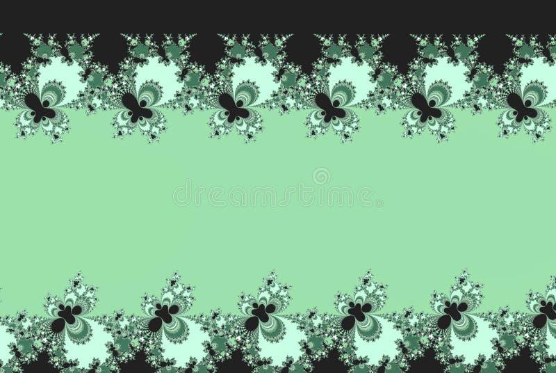 Grünen Sie schattierte gezierte Fractalblumen formen mit einem Kopienraum lizenzfreie abbildung