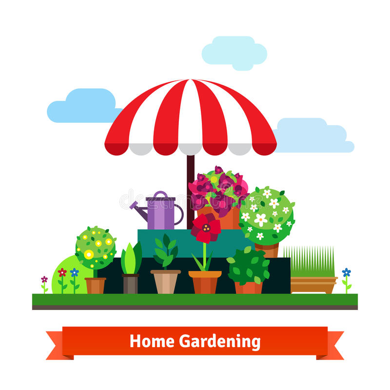 Grünender Hauptspeicher mit Anlagen, Blumen, Gras vektor abbildung