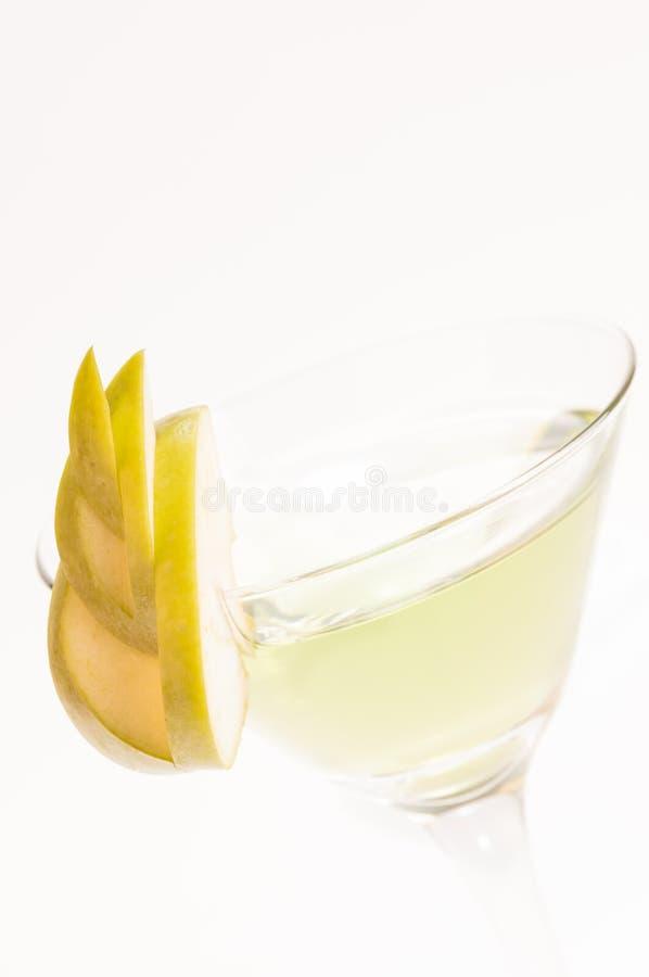 Grüner Abschluss Apples Martini oben stockbilder