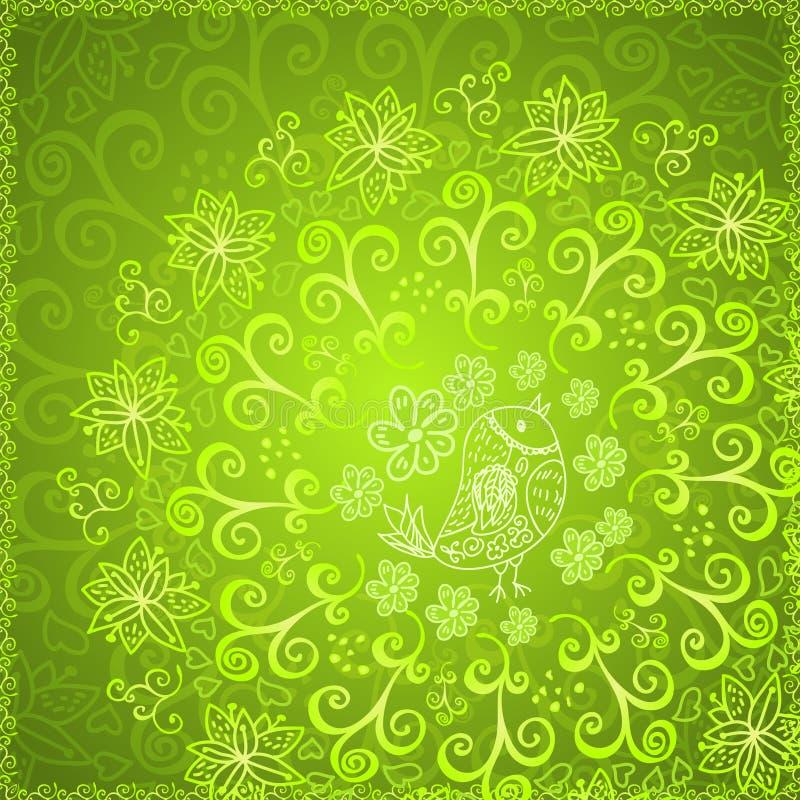 Grüner abstrakter Blumenverzierungshintergrund stock abbildung
