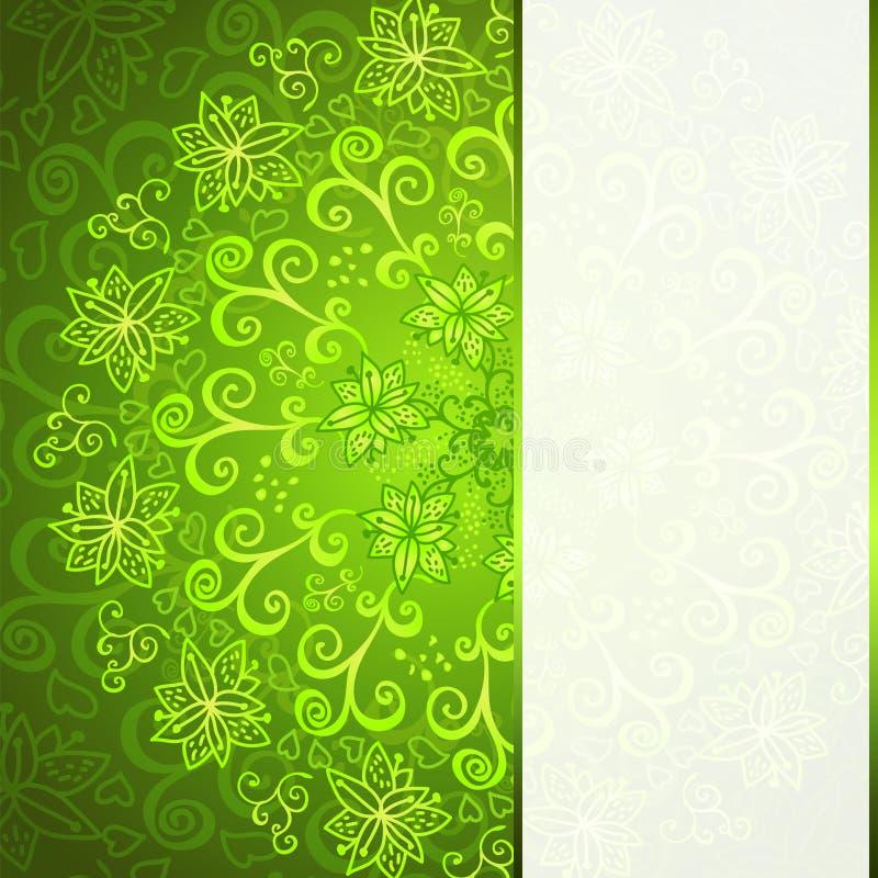 Grüner abstrakter Blumenverzierungshintergrund vektor abbildung