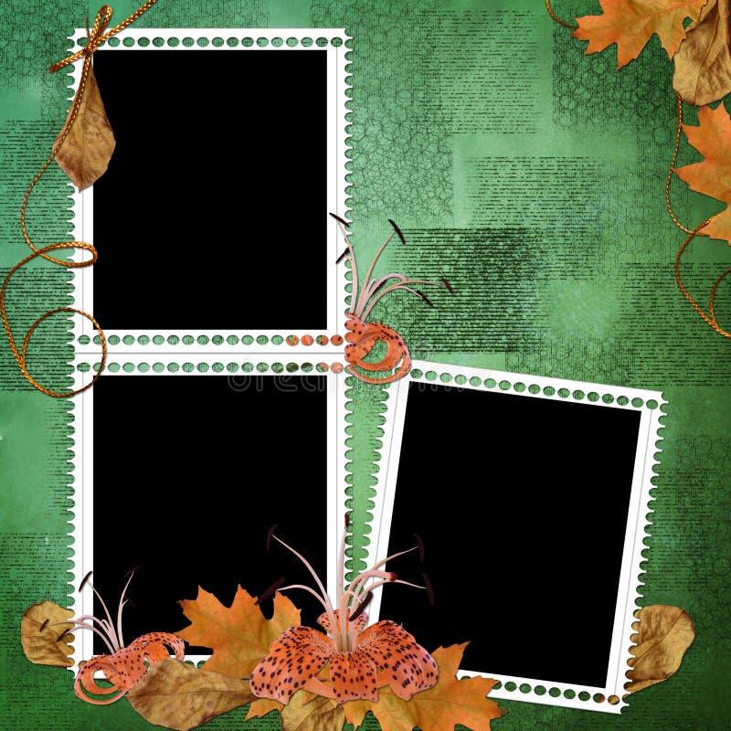 Grüner abstrakter Hintergrund mit Feldern und Blumen lizenzfreie abbildung