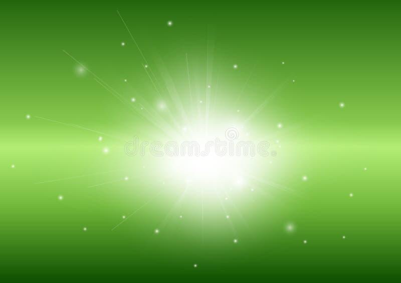 Grüner abstrakter Hintergrund mit glühendem Strahl des hellen Strahls stock abbildung