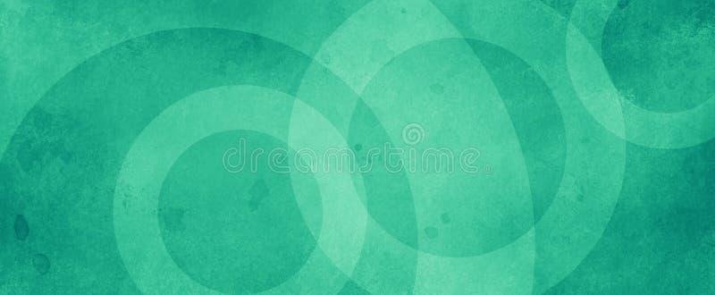 Grüner abstrakter Hintergrund mit weißen Kreisringen in verblasster, gestörter Vintage Grunge Textur Design, altes geometrisches  lizenzfreies stockbild