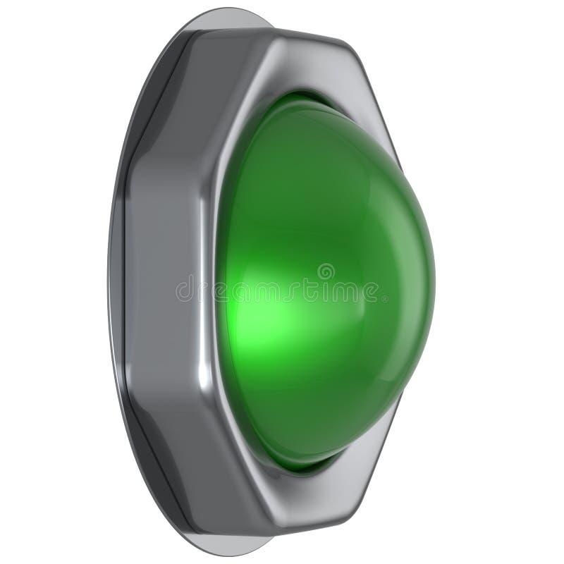 Grüner Anfang des Knopfes drehen sich weg auf Aktion runterdrücken, Zündung zu aktivieren vektor abbildung