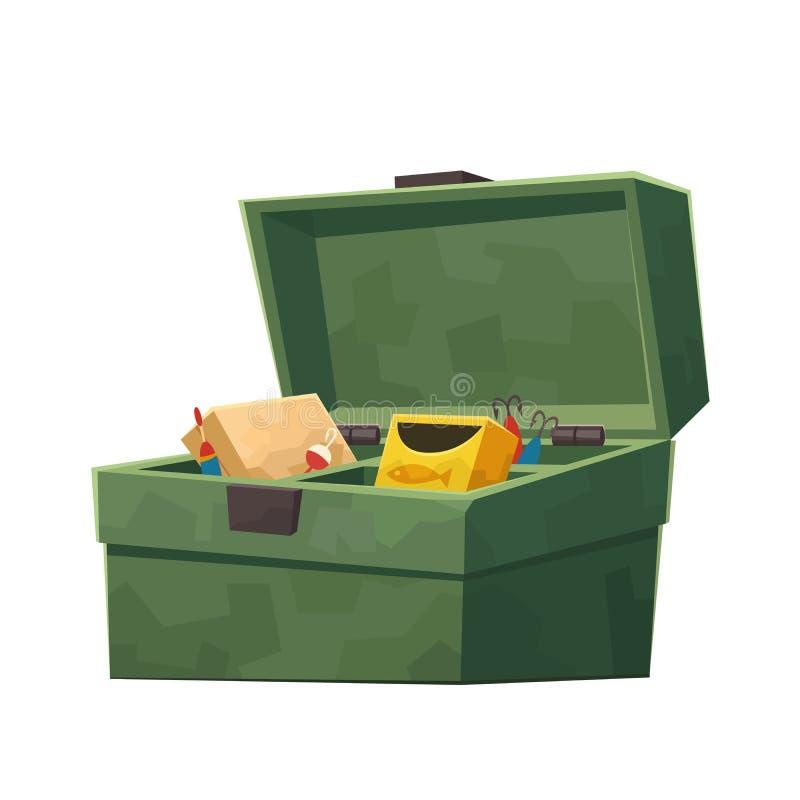 Grüner Angelausrüstungskasten lokalisiert auf weißem Hintergrund stock abbildung