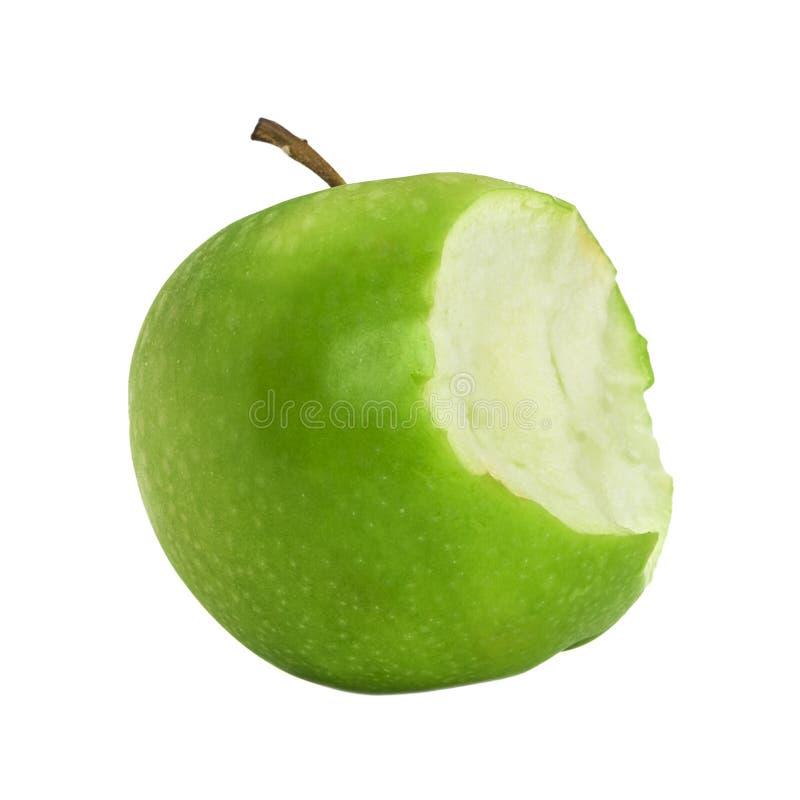 Grüner Apfel des Bisses stockfotos