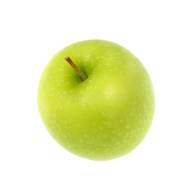 Grüner Apfel, lokalisiert auf weißem Hintergrund lizenzfreie stockbilder