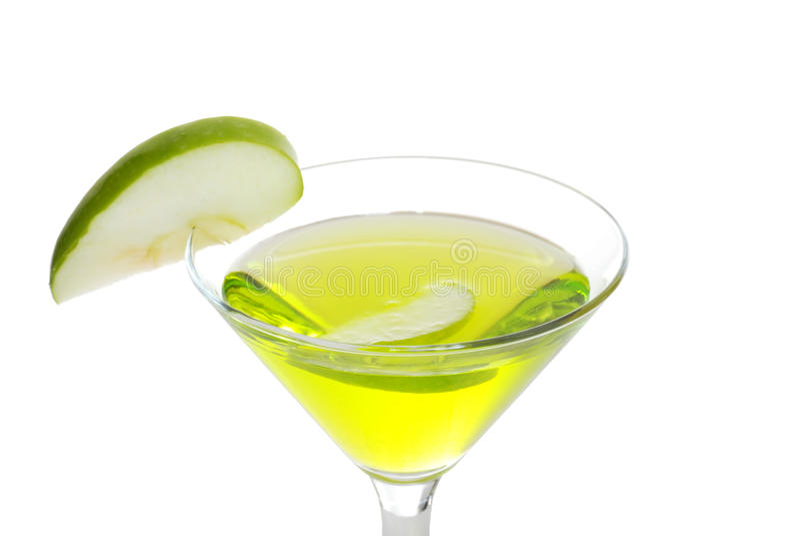 Grüner Apfel Martini der Nahaufnahme stockfotografie