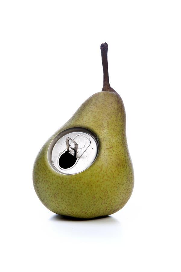 Grüner Apfel mit metallischer Dosenöffnung lizenzfreies stockfoto