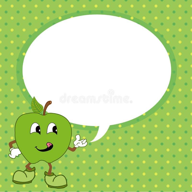 Grüner Apfel mit Spracheblasenvektor vektor abbildung