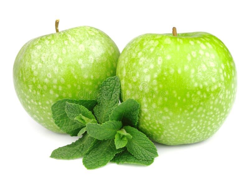 Grüner Apfel mit tadellosem Blatt lizenzfreie stockbilder