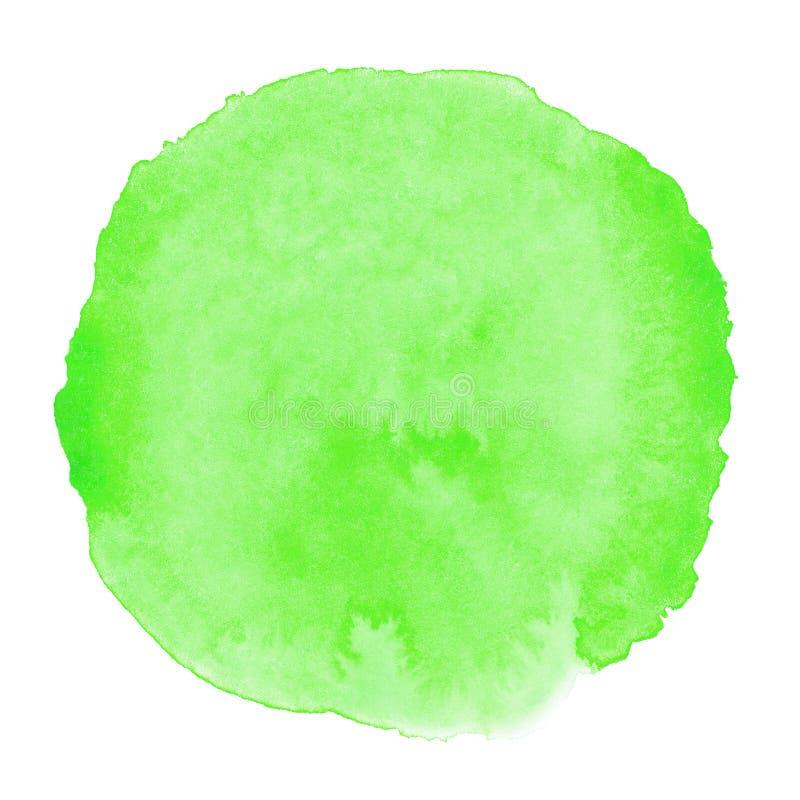 Grüner Aquarellhintergrund für Beschaffenheiten und Hintergründe, runde Stelle des Kreises stock abbildung