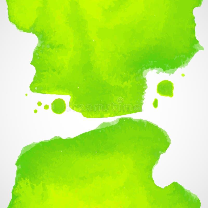 Grüner Aquarellvektorhintergrund mit spritzt stock abbildung