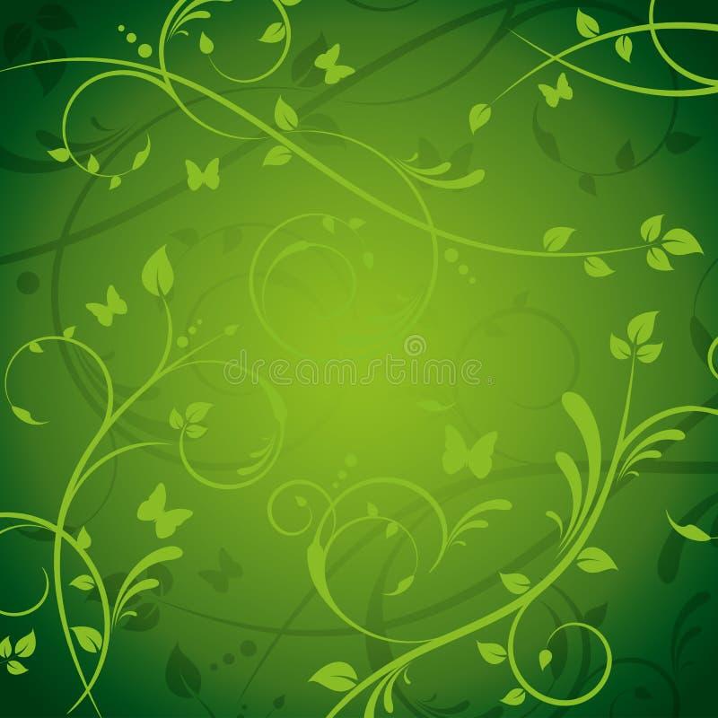 Grüner aufwändiger Blumenhintergrund mit Schmetterlingen stock abbildung