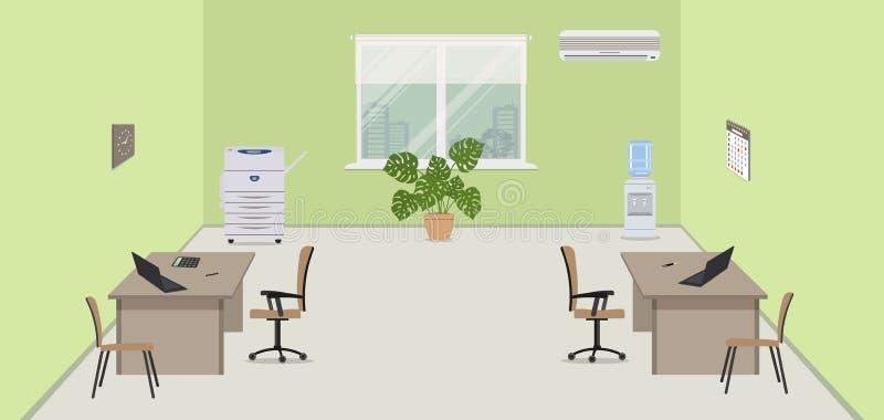 Grüner Büroraum mit beige Möbeln, einer Kopienmaschine, einem Wasserspender und Conditioner stock abbildung