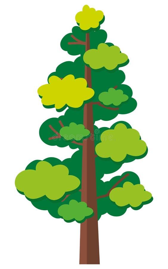 Grüner Baum auf weißem Hintergrund stock abbildung