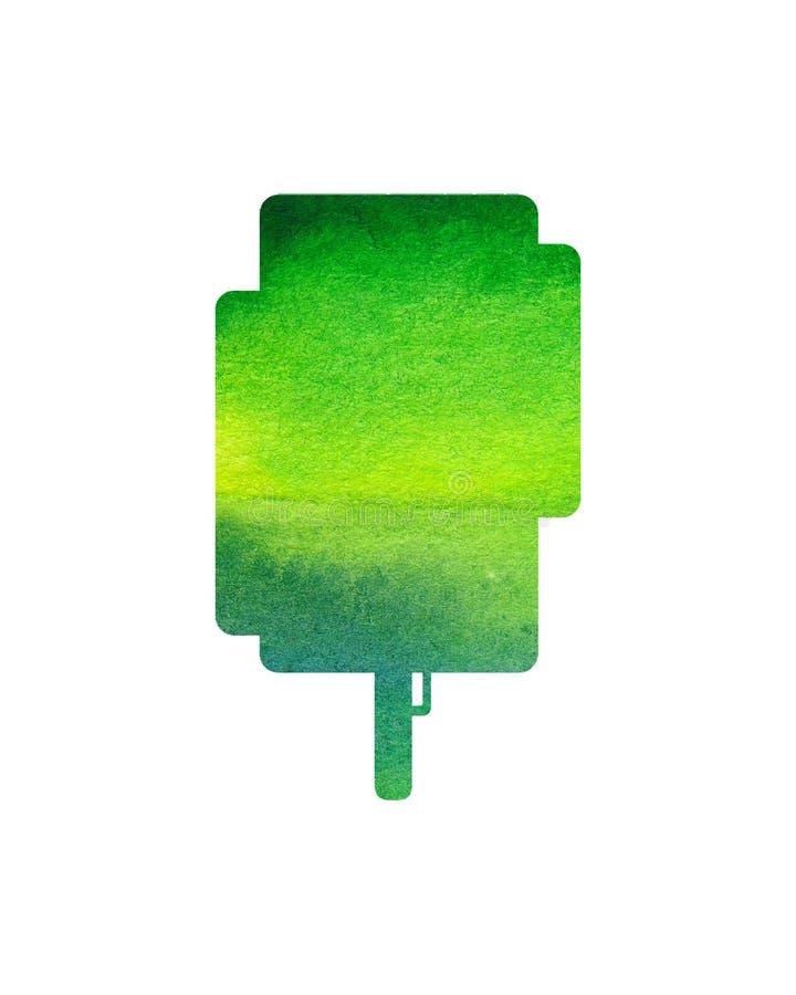 Grüner Baum auf weißem Hintergrund, Aquarell lizenzfreie abbildung