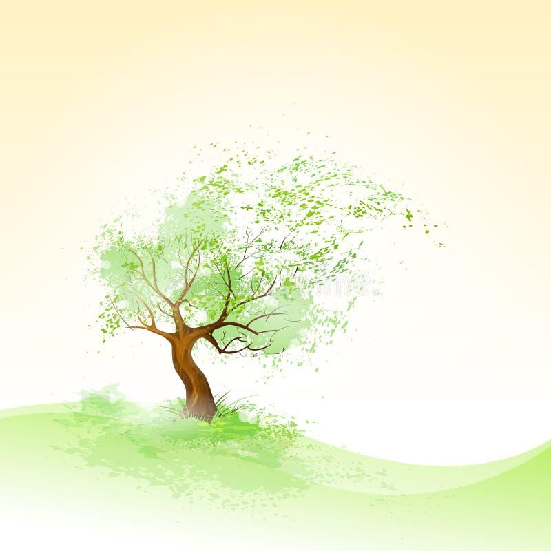 Grüner Baum mit den Blättern, die Wind und braune Barke durchbrennen stock abbildung
