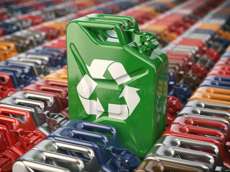Grüner Benzinkanister mit bereiten Zeichen vor dem hintergrund vieler auf stock abbildung