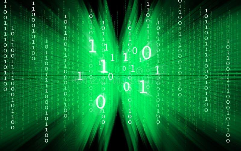 Grüner binärer Code auf schwarzem Hintergrund stock abbildung