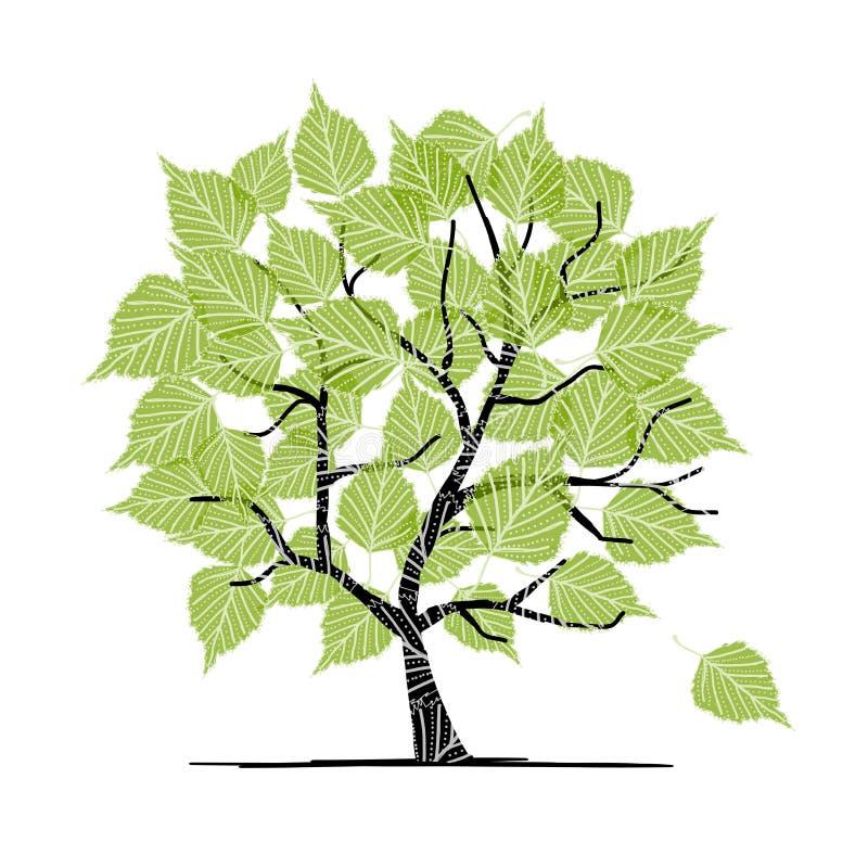 Grüner Birkenbaum für Ihre Auslegung stock abbildung