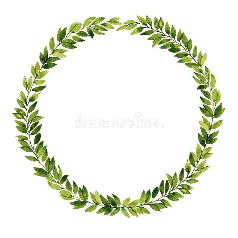 Grüner Blattaquarellkranz lizenzfreie abbildung