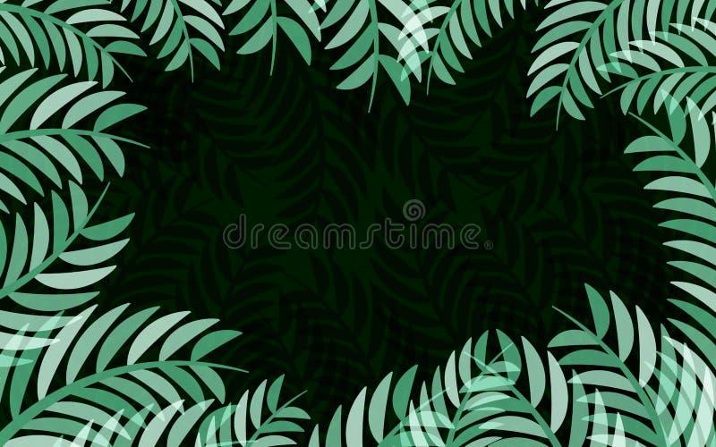 Grüner Blattrahmen auf schwarzem Hintergrundvektorzusammenfassungsnatur-Hintergrunddesign vektor abbildung