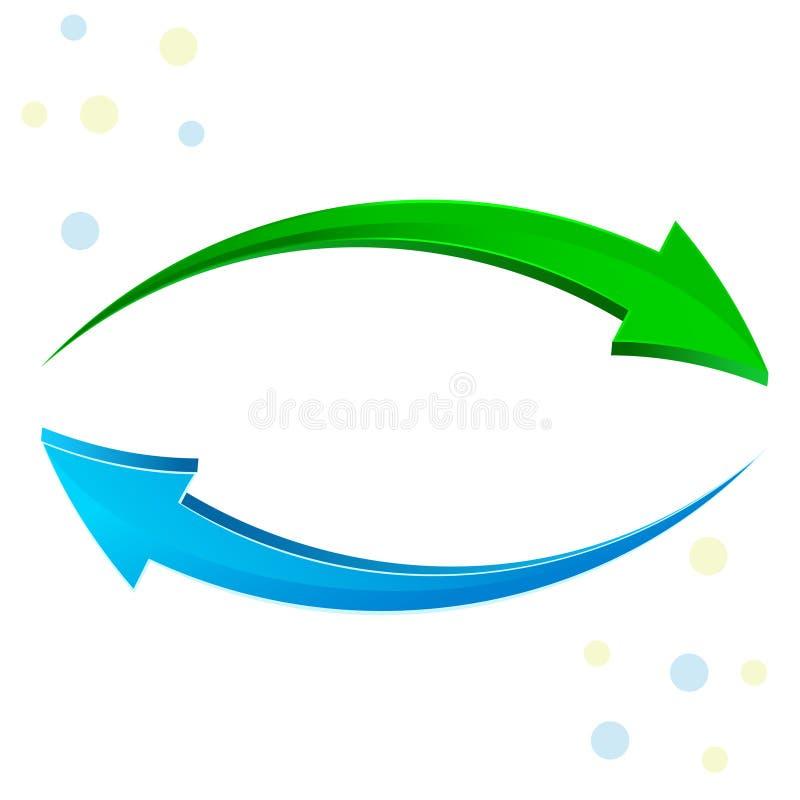 Grüner, blauer Pfeil 3D lizenzfreie abbildung