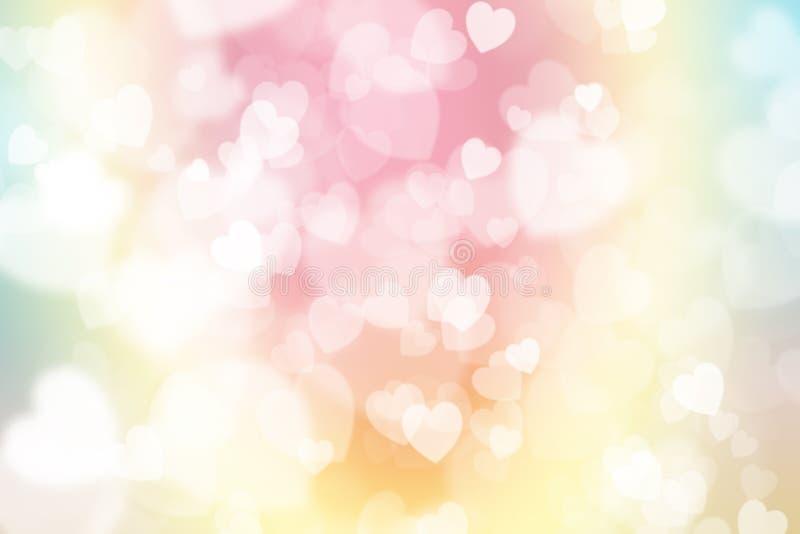 Grüner, blauer und rosa bunter Pastellhintergrund, mit Herzen-shap vektor abbildung