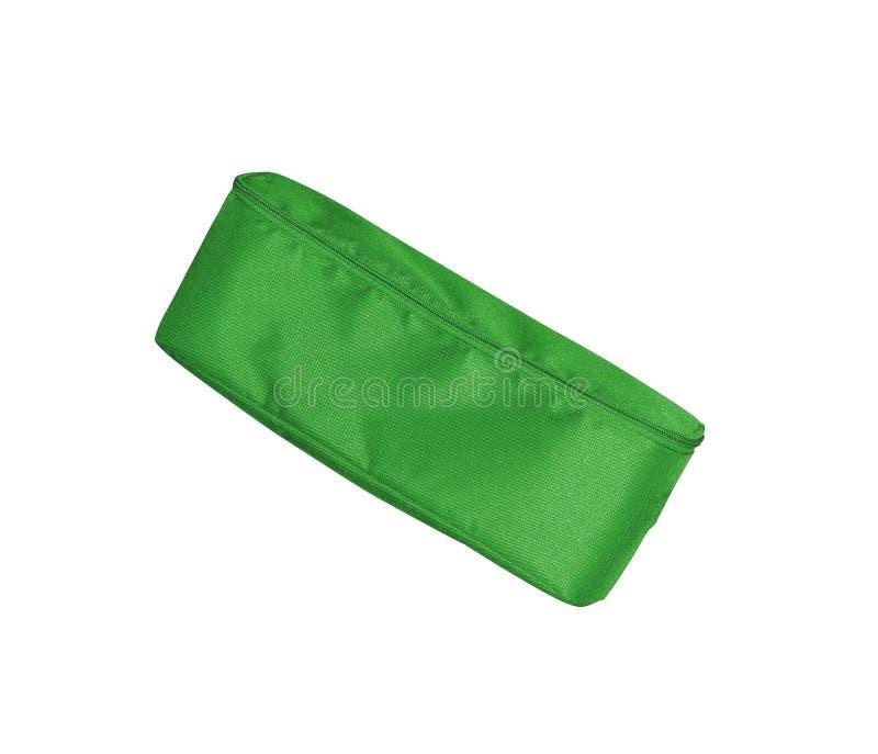Grüner Bleistiftfall auf weißem Hintergrund lizenzfreies stockbild