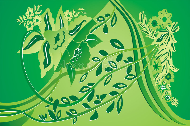 Grüner Blumenhintergrund lizenzfreie abbildung